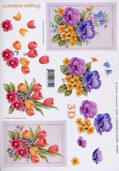 3D Bogen Tulpen + Anemonen - Format A4,  Blumen - Tulpen,  Le Suh,  3D Bogen,  Tulpen+Anemonen,  Strauß