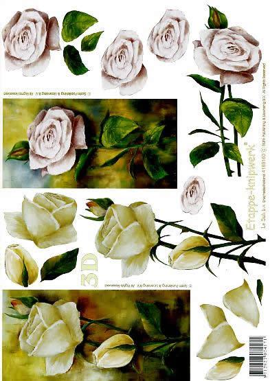 3D Bogen Rosen mit Stiel - Format A4,  Blumen - Rosen,  Le Suh,  3D Bogen,  Rosen mit Stiel