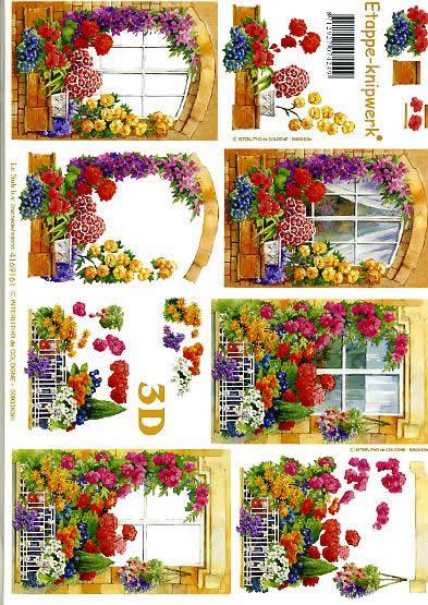 3D Bogen Blumenfenster - Format A4,  Pflanzen -  Sonstige,  Le Suh,  3D Bogen,  Blumenfenster,  Garten