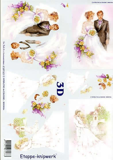 3D Bogen Ehepaar - Format A4,  Ereignisse - Feier,  Le Suh,  3D Bogen,  Ehepaar,  Liebe,  Hochzeit,  Blumen