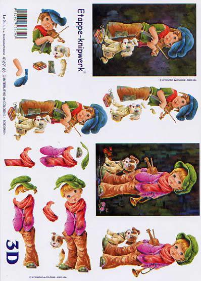 3D Bogen Strassenmusikanten - Format A4,  Menschen - Kinder,  Le Suh,  3D Bogen,  Strassenmusikanten