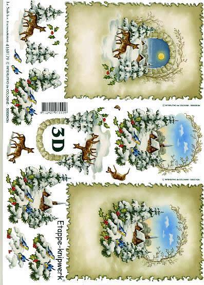 3D Bogen Weihnachtshirsche - Format A4,  Tiere -  Sonstige,  Le Suh,  3D Bogen,  Weihnachtshirsche,  Winterlandschaft