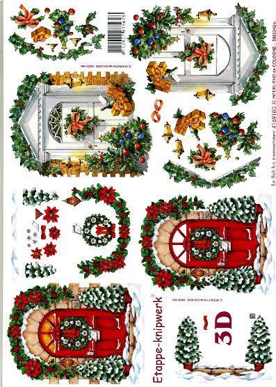 3D Bogen Weihnachtstüren - Format A4,  Winter - Schnee,  Le Suh,  3D Bogen,  Weihnachtstüren,  Girlanden