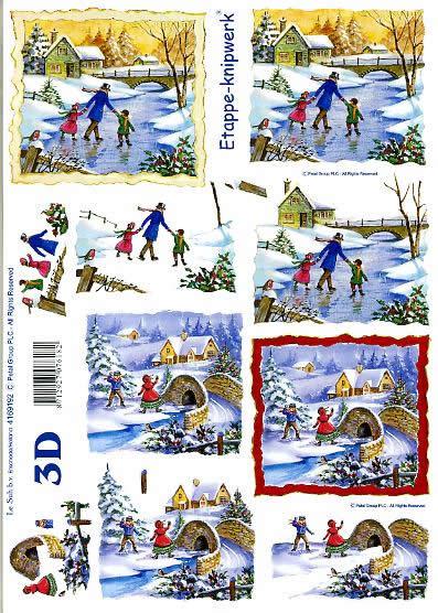 3D Bogen Schlittschuhlaufen - Format A4,  Menschen - Kinder,  Le Suh,  3D Bogen,  Schlittschuhlaufen