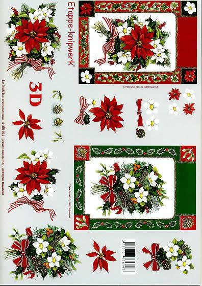 3D Bogen Weihnachts - Strauß - Format A4,  Pflanzen - Ilex,  Le Suh,  3D Bogen,  Weihnachts-Strauß