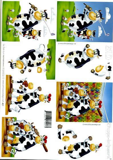 3D Bogen Kuh 2 - Format A4,  Tiere - Kühe,  Le Suh,  3D Bogen,  Kuh 2