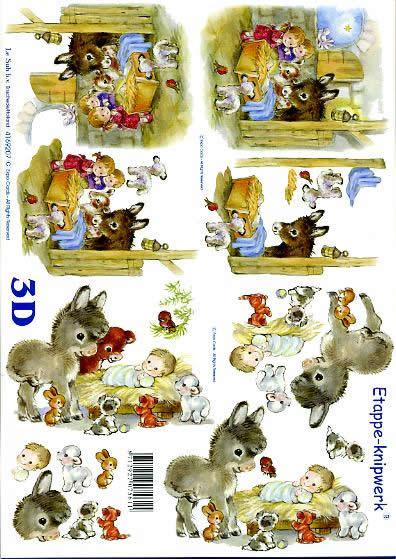 3D Bogen Weihnachtskrippe - Format A4,  Tiere -  Sonstige,  Le Suh,  3D Bogen,  Weihnachtskrippe