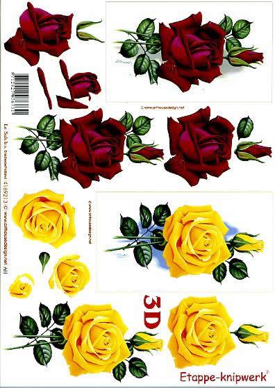 3D Bogen Rosen - Rosen - Format A4,  Blumen - Rosen,  Le Suh,  3D Bogen,  Rosen - Rosen