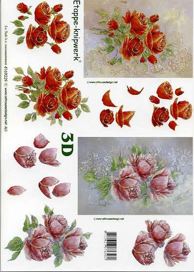 3D Bogen Rosen - Format A4,  Blumen - Rosen,  Le Suh,  3D Bogen,  Rosen,  Strauß