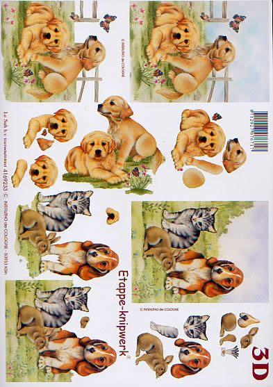 3D Bogen Hündchen - Format A4,  Tiere - Hunde,  Le Suh,  3D Bogen,  Hund,  Katze,  Bauernhof