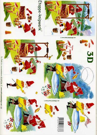 3D Bogen Wichtel am Brunnen/Angeln - Format A4,  Tiere - Fische,  Le Suh,  3D Bogen