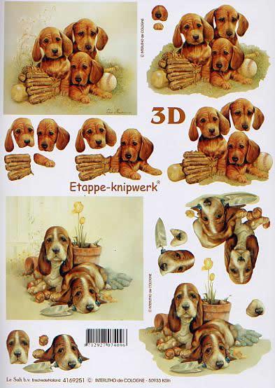 3D Bogen Hündchen - Format A4,  Tiere - Hunde,  Le Suh,  3D Bogen,  Hündchen