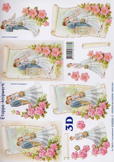 3D Bogen Brautpaar - Format A4,  Ereignisse - Hochzeit,  Le Suh,  3D Bogen,  Brautpaar,  hochzeit,  Blumen
