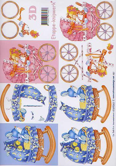 3D Bogen Wiege + Kinderwagen - Format A4,  Tiere - Hasen,  Le Suh,  3D Bogen,  Wiege + Kinderwagen,  Baby