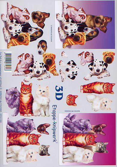 3D Bogen Katze + Hunde - Format A4,  Tiere - Hunde,  Le Suh,  3D Bogen,  Welpen