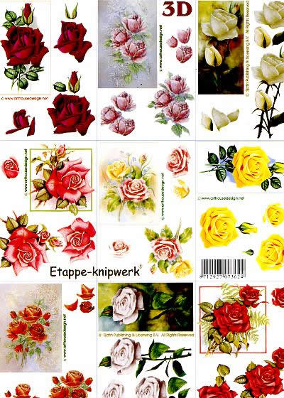 3D Bogen 9 x Rosen - Format A4,  Blumen - Rosen,  Le Suh,  3D Bogen,  9 x Rosen,  Strauß