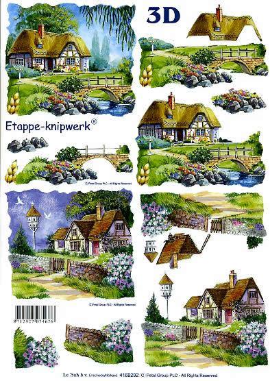 3D Bogen Landhaus - Format A4,  Le Suh,  3D Bogen,  Landhaus,  Brücke,  Bäume