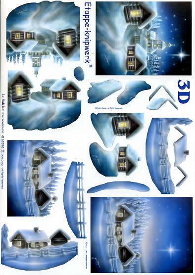 3D Bogen Schneehäuser blau - Format A4,  Winter,  Le Suh,  3D Bogen,  Schneehäuser blau