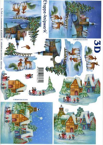 3D Bogen Weihnachtshirsche - Format A4,  Weihnachten - Weihnachtsbaum,  Le Suh,  3D Bogen,  Weihnachtshirsche,  Winterlandschaft,  Brücke