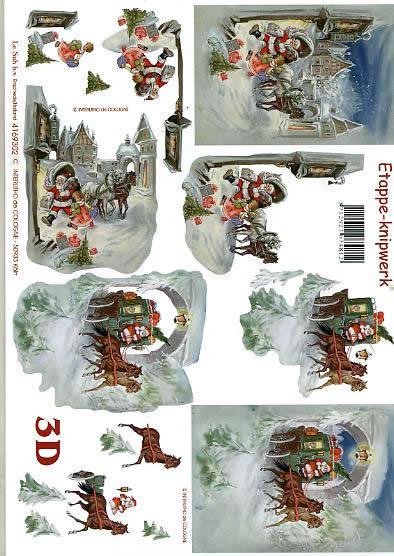 3D Bogen Weihnachtskutsche - Format A4,  Winter - Schnee,  Le Suh,  3D Bogen,  Geschenke,  Pferdekutsche,  Winterhäuser