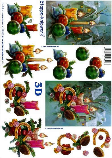 3D Bogen Weihnachtskerzen - Format A4,  Winter - Schnee,  Le Suh,  3D Bogen,  Hufeisen,  Häuser
