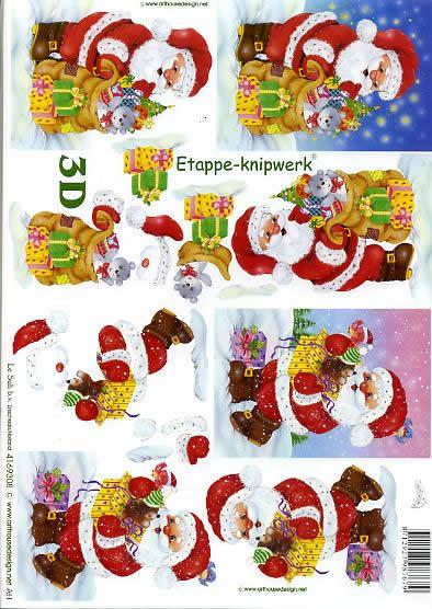 3D Bogen Weihnachtsmann - Format A4,  Winter - Schnee,  Le Suh,  3D Bogen,  Weihnachtsmann mit Geschenken,  Tiere