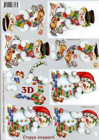 3D Bogen Schneemann - Format A4,  Weihnachten - Geschenke,  Le Suh,  3D Bogen,  Spielzeug