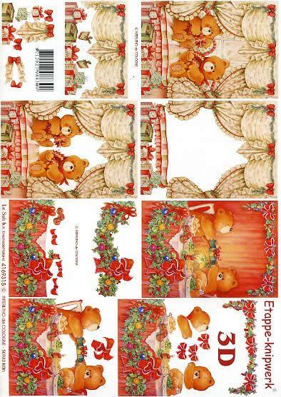 3D Bogen Vorhang Bären - Format A4,  Weihnachten - Geschenke,  Weihnachten - Baumschmuck,  3D Bogen,  Vorhänge,  Schleifen