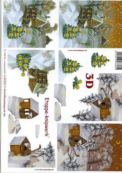3D Bogen Schneelandschaft - Format A4,  Winter - Kristalle / Flocken,  Le Suh,  3D Bogen,  Schneelandschaft,  Winterlandschaft,  Schneehäuser