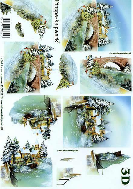 3D Bogen Weihnachtsbrücke - Format A4