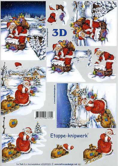 3D Bogen Weihnachtsmann / Dach - Format A4,  Weihnachten - Weihnachtsmann,  Le Suh,  3D Bogen,  Winterlandschaft