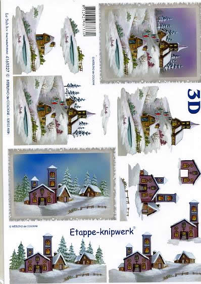 3D Bogen Kirche im Schnee - Format A4,  Le Suh,  3D Bogen,  Kirche im Schnee,  Winterlandschaft