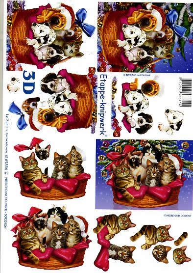 3D Bogen Weihnachtshund + Katze - Format A4,  Tiere - Hunde,  Le Suh,  3D Bogen,  Weihnachtshund + Katze,  Korb