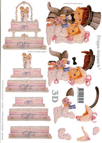 3D Bogen Heiraten - Format A4,  Blumen -  Sonstige,  Le Suh,  3D Bogen,  Heiraten,  Hochzeitstorte,  Hufeisen,  Brautpaar