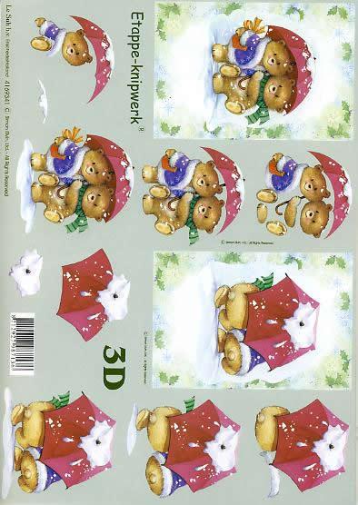 3D Bogen Weihnachtsbären - Format A4,  Pflanzen - Ilex,  Le Suh,  3D Bogen,  Weihnachtsbären,  Regenschirm