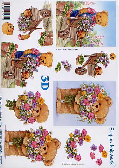 3D Bogen Bär im Garten - Format A4,  Tiere -  Sonstige,  Le Suh,  3D Bogen,  Bär im Garten,  Schubkarre,  Blumenstrauß