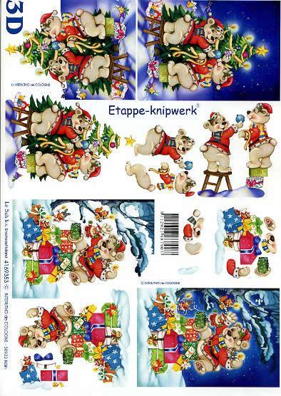 3D Bogen Weihnachtsbären - Format A4,  Weihnachten - Geschenke,  Le Suh,  3D Bogen,  Weihnachtsbären