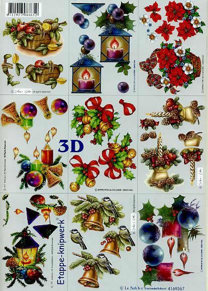 3D Bogen Klein - Weih. Kerzen - Format A4,  Weihnachten - Weihnachtsstern,  Le Suh,  3D Bogen,  Klein - Weihnachtskerzen+Glocken+Gestecke+Korb,  Laterne