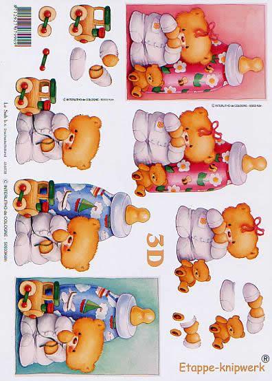 3D Bogen Baby Bär+Flasche - Format A4,  Tiere - Bären,  Le Suh,  3D Bogen,  Baby Bär+Flasche,  Spielsachen