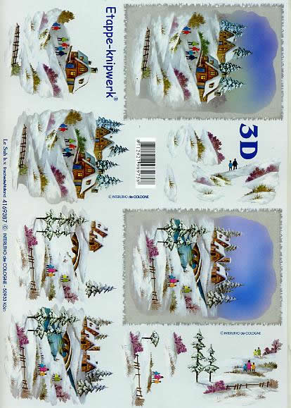 3D Bogen Winterlandschaft - Format A4,  Le Suh,  3D Bogen,  Winterlandschaft,  Schneehäuser,  Weihnachtsbrücke