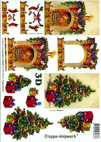 3D Bogen Weihnachtskamin - Format A4,  Weihnachten - Glocken,  Le Suh,  3D Bogen,  Weihnachtskamin,  Kerzen,  Baumschmuck