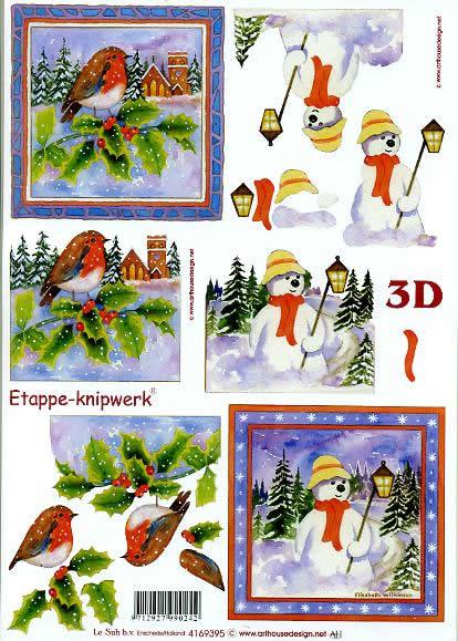 3D Bogen Vögel + Schneemann - Format A4,  Winter - Schneemänner,  Le Suh,  3D Bogen,  Ilex,  Laterne