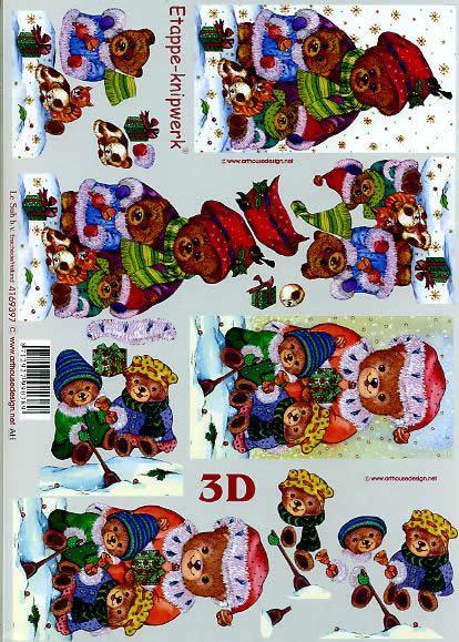 3D Bogen Weihnachtsbären - Format A4,  Tiere - Bären,  Le Suh,  3D Bogen,  Weihnachtsbären