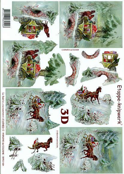 3D Bogen Kutsche + Schlitten - Format A4,  Winter - Schlitten,  Le Suh,  3D Bogen,  Kutsche,  Winterlandschaft,  Brücke