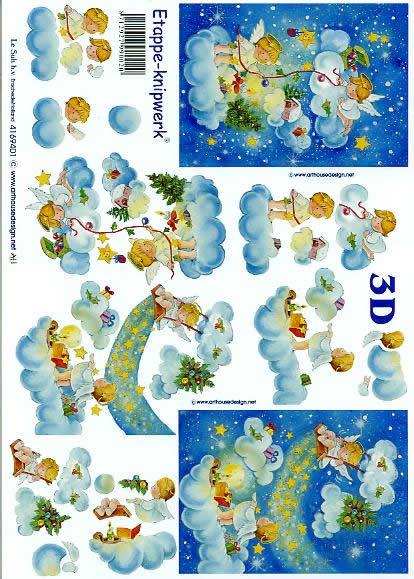 3D Bogen Engel auf Wolke - Format A4,  Weihnachten - Sterne,  Le Suh,  3D Bogen,  Engel auf Wolke,  Kerzen,  Baumschmuck