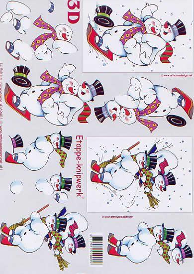 3D Bogen Schneemänner - Format A4,  Le Suh,  3D Bogen,  Schneemänner auf Ski