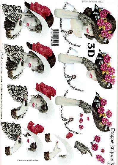 3D Bogen Dame+Hut (schwarz) - Format A4,  Le Suh,  3D Bogen,  Dame+Hut (schwarz),  Romantik