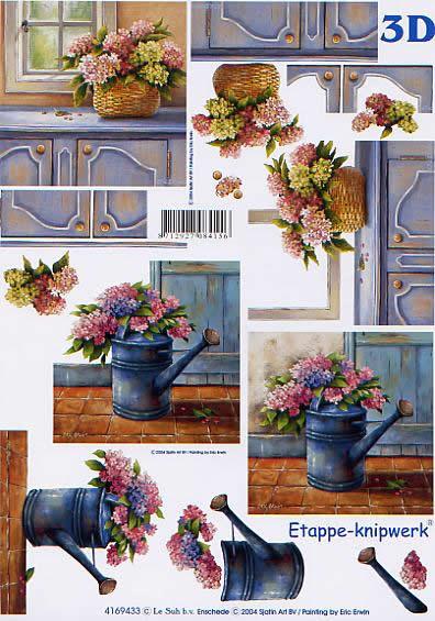 3D Bogen Hortensie + Gießkanne - Format A4,  Le Suh,  3D Bogen,  Hortensie + Gießkanne,  Blumenkorb auf Schrank