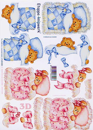 3D Bogen Baby - Bär - Format A4,  Tiere - Bären,  Le Suh,  3D Bogen,  Baby-Bär mit Decke Rosa+Blau