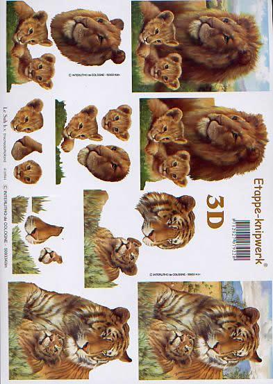 3D Bogen Tiger + Löwe - Format A4,  Tiere - Löwen,  Le Suh,  3D Bogen,  Savanne,  Löwenbabys,  Steppe